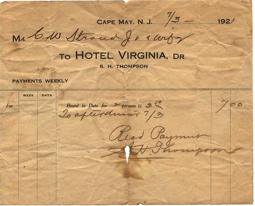 Grandparents 1921 honeymoon hotel receipt