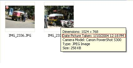 Picture properties via mouse-over