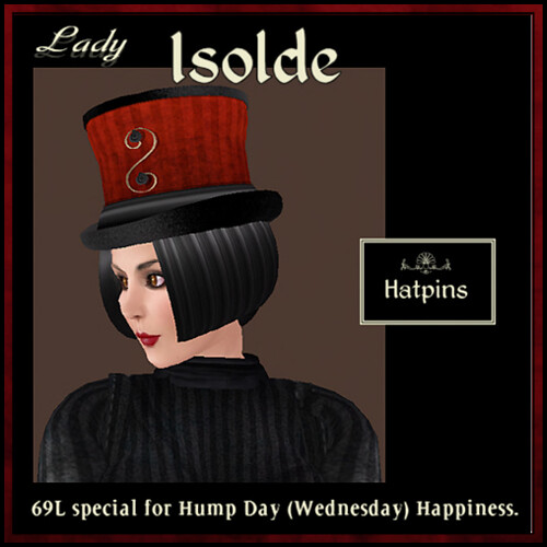 Hatpins - Lady Isolde Black & Red - HDH