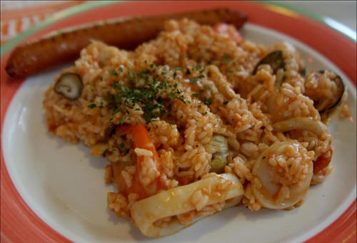 seafood risotto and sausage