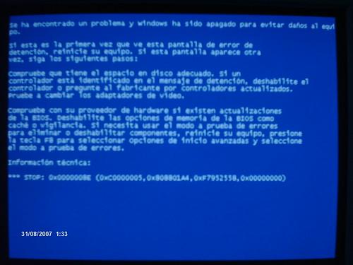 Error BSoD Stop pantalla azul