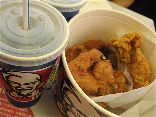 pepsi and 6-pc bucket of kentucky fried chicken