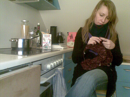 Me knitting in the kitchen