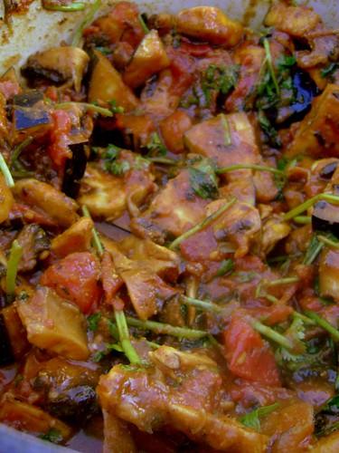 Aubergine and Mushroom Curry