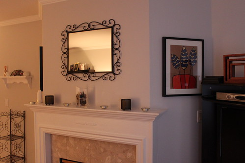 The other side of the mantle and the coordinating Ikea print... not my fave of the two.
