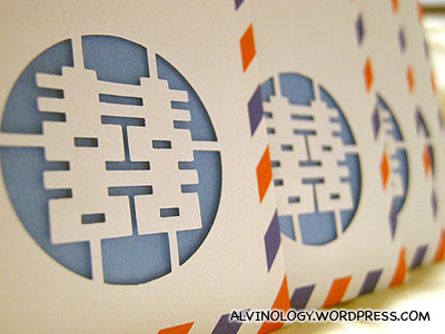 "Manually punched ""double happiness"" paper cut on the envelop"