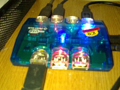 7-Port USB Hubs with Multi-Coloured Lights in day