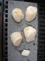 scallops cooking on basalt grillstone