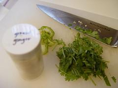 Chili, ginger, cilantro