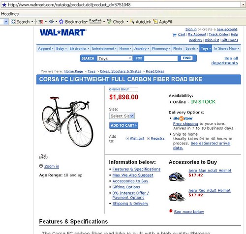 $1900 Wal-Mart bicycle