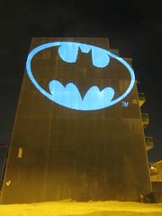 Batman Bat Signal, laser light graffiti, Barcelona