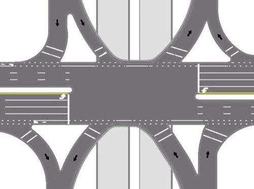 Bike lanes across freeway interchange