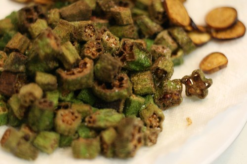 Fried Okra (and a little eggplant at the back)