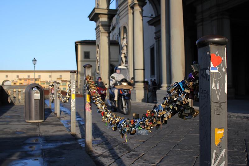 Love padlocks near Ponte Vecchio in Florence