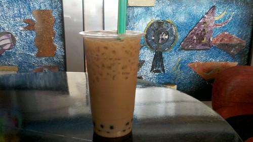 taro milk tea with boba