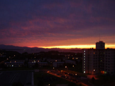 View of the sunset from our balcony a few nights ago