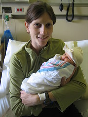 Photo of Katherine holding Claire Elizabeth West in the hospital