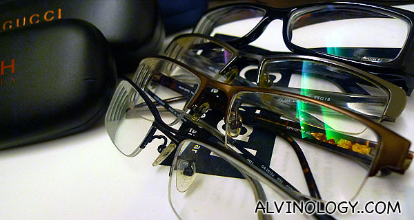 A few of my older spectacles - look at the scratched, dirty lenses, it's the reason why I need to change spectacles yearly.