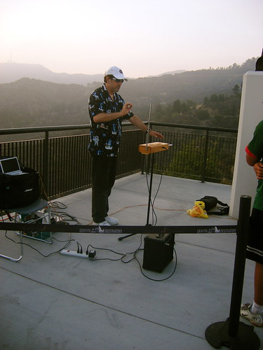 Man playing theremin the Griffith Observatory in Los Angeles