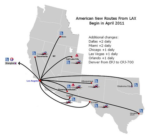 American New LAX Routes