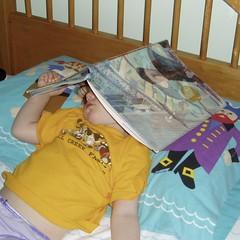 sleepy book head