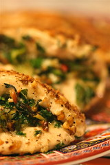 Chicken with Walnuts, Bleu Cheese & Chard