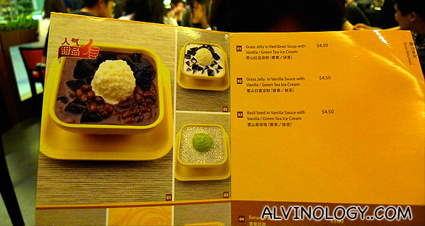 The menu - we picked two of their signature desserts