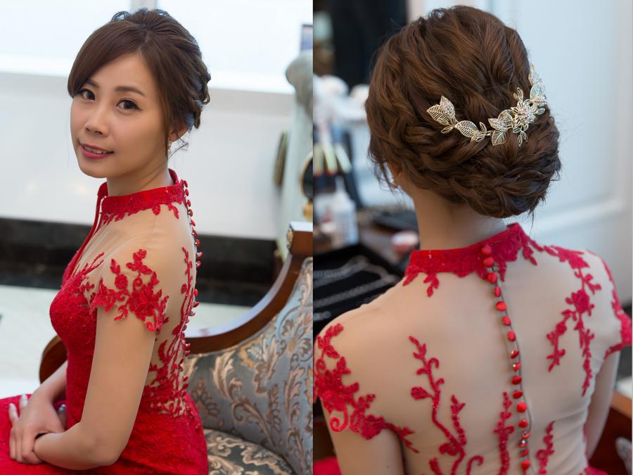 新秘Yuki│新秘推薦│紅色禮服│盤髮│新娘髮型