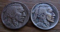 """'The Warrior' Hobo nickel/coin carving • <a style=""""font-size:0.8em;"""" href=""""http://www.flickr.com/photos/72528309@N05/24274521749/"""" target=""""_blank"""">View on Flickr</a>"""