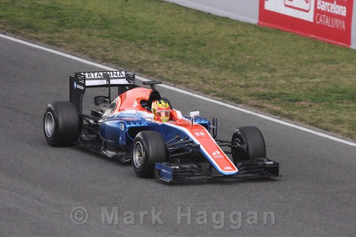 Rio Haryanto in his Manor car during Formula One Winter Testing 2016