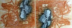 GINA MARZIALE_VIAGGIO DEL FIORE ESOTICO, acquaforte a due colori, 2004