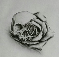 #art #tattooedparents #freshcutflesh #eyeofjade #paradise #sketchbook #sketch #drawing #inked #inkedgirls #floralart #california #tattoodesign #coloredpencil #doodles #death #skulls #humanskull #skullart #negativeimages #bones #roses #rosetattoos