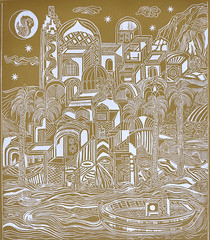 F. DE MARINIS_Vista dal mare, xilografia, 2014