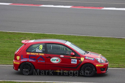 Bradley Burns in the BRSCC Fiesta Junior Championship at Silverstone, April 2016