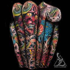 Red-Hannya-Green-Snake-and-Pink-and-blue-Chrysanthemums-in-black-and-grey-fingerwaves-japanese-sleeve-tattoo-by-ben-lucas-at-eye-of-jade-in-chico-ca-Portfolio-