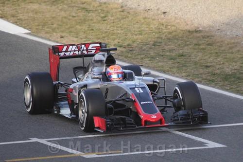 Romain Grosjean in the Haas during Formula One Winter Testing 2016