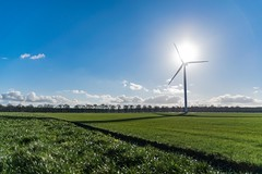 View on the countryside in the new land of Flevoland
