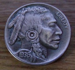 "'The Warrior' Hobo nickel/coin carving • <a style=""font-size:0.8em;"" href=""http://www.flickr.com/photos/72528309@N05/24015446583/"" target=""_blank"">View on Flickr</a>"