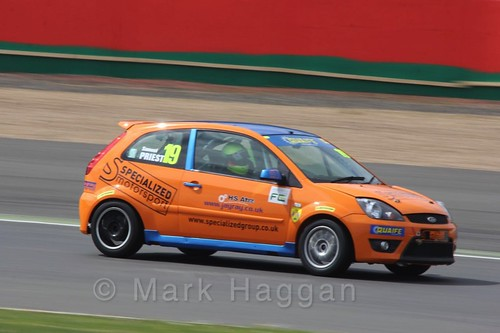 Samuel Priest in the BRSCC Fiesta Championship at Silverstone, April 2016