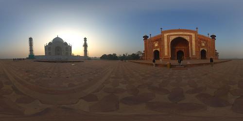 Taj Mahal Panorama beim Sonnenaufgang