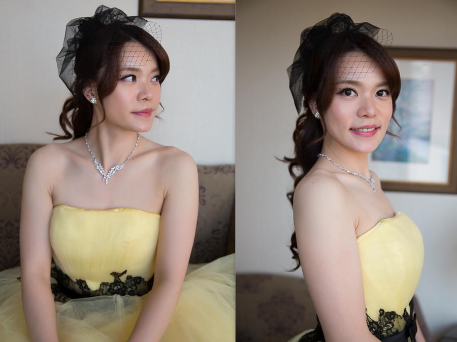 新秘Yuki│新秘推薦│黃色禮服│公主頭│歐式面紗│新娘髮型