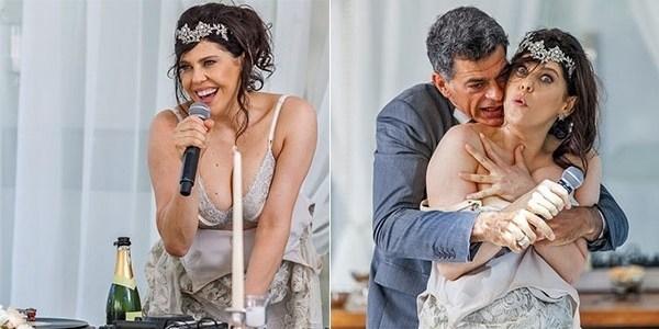 """Em """"A Regra do Jogo"""", Nelita faz strip-tease e dá vexame em seu casamento"""