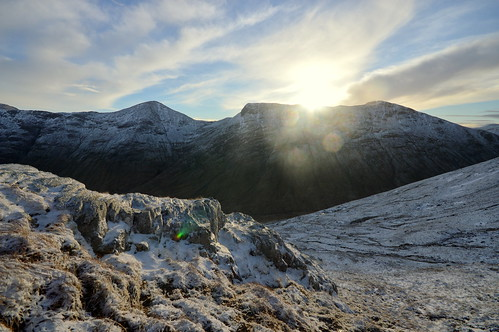 The Sun appears above Buchaille Etive Mor