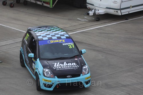 Mark Godfrey in the BRSCC Fiesta Championship at Silverstone, April 2016