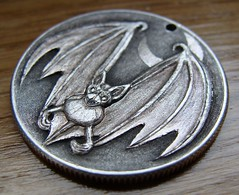 "'Bat' pendant carving in 1964 Silver Half $ • <a style=""font-size:0.8em;"" href=""http://www.flickr.com/photos/72528309@N05/24209938919/"" target=""_blank"">View on Flickr</a>"