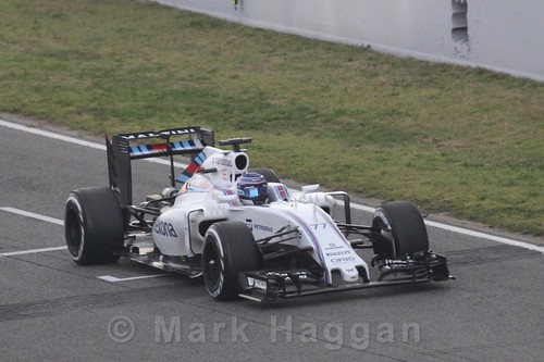 Valtteri Bottas in his Williams during Formula One Winter Testing 2016