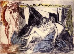 A. BEGHELLI__Nudo allo specchio, acquaforte e acquatinta (riporto ad acquerello), 1985