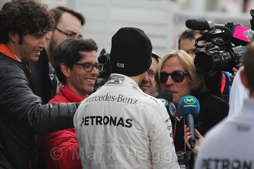 Nico Rosberg interviewed during Formula One Winter Testing 2016
