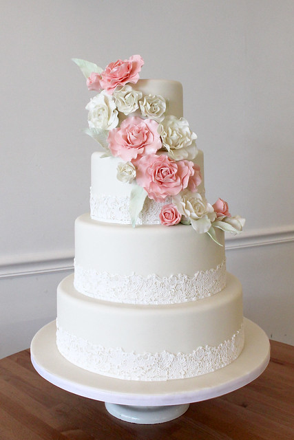 elegant wedding cakes   Oakleaf Cakes Bake Shop Sugar Lace with Pink Sugar Garden Roses Wedding Cake