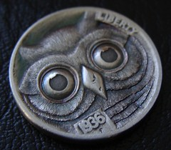 """'Owl' Hobo nickel/coin carving • <a style=""""font-size:0.8em;"""" href=""""http://www.flickr.com/photos/72528309@N05/24535042442/"""" target=""""_blank"""">View on Flickr</a>"""